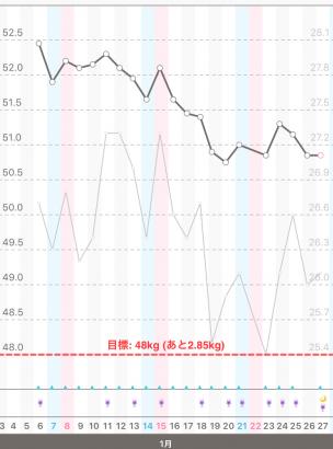 体重と体脂肪のグラフ20160106~0127