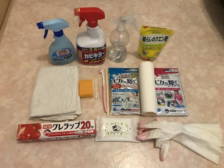 風呂掃除の使った洗剤と道具